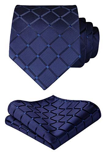 (HISDERN Plaid Blue Tie Handkerchief Woven Classic Men's Necktie & Pocket Square Set,Navy Blue,One)