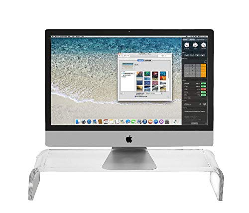 Acrylic Monitor Stand Riser - Computer Desk Shelf Organizer for Laptop, iMac, Printers, Keyboard & Screens Up to 24 Inches | Clear