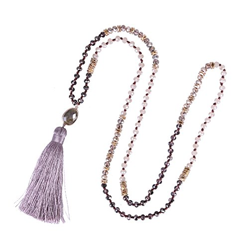 B Beaded Long Necklace Color Tassel Agate Pendant Women Strand Bracelet For Summer (Purple) (Agate Turquoise Pendant)