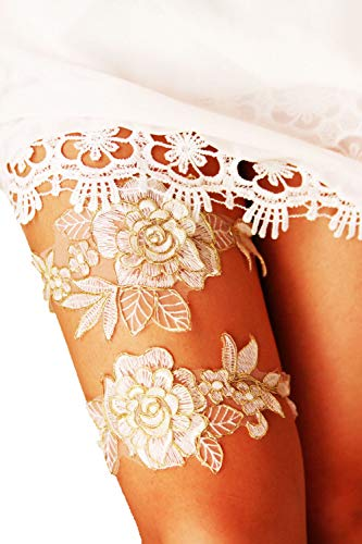 YuRong Bridal Rose Style Garter Set Wedding Stretch Garter Set G44 (Gold) ()