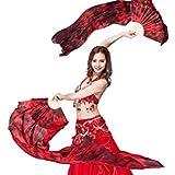 ZLTdream Colors Belly Dance Silk Bamboo Long Fans 1.8M Black-Burgundy