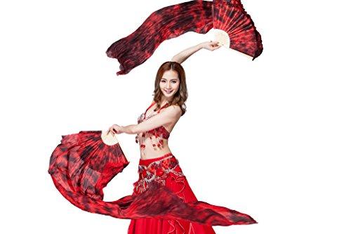 Burgundy Belly Dance - ZLTdream Colors Belly Dance Silk Bamboo Long Fans 1.8M Black-Burgundy