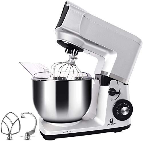 Stand Mixer, Posame 5.5-Quart 600-Watt 6-Speed Dough Mixer with Stainless Steel Bowl, Tilt Head, Pouring Shield, Dough Hook, Flat Beater, Whisk Dough Kneading Machine, Silver