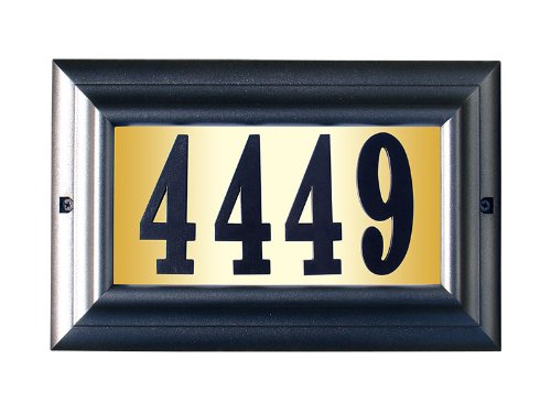 Black Pewter Address Number - Qualarc LTL-1301PW-PN Edgewood Large Lighted Address Plaque in Pewter Frame Color with 4-Inch Black Polymer Numbers