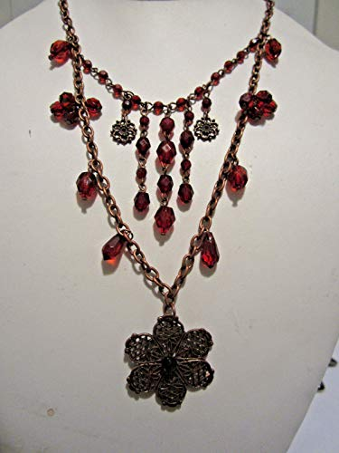 - Victorian Look Red Faceted Lucite Bead Flower Pendant Copper Tone Necklace