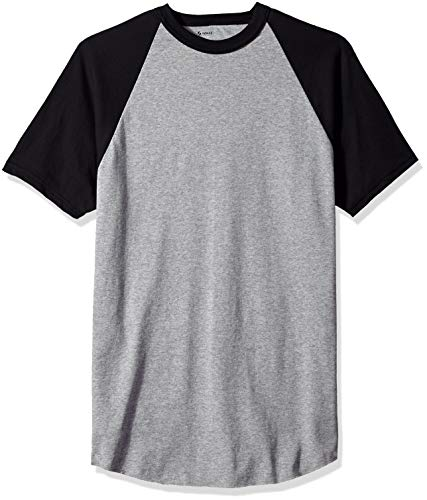 Soffe Men's Short Sleeve Baseball Tee, Althletic Oxford/Black, Extra Large