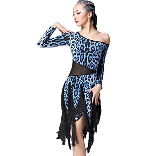 [Latin Dance Dress Tassel Women Tango Salsa Rumba Cha Cha Samba Tango Dance Performance Clothes Competition Costumes Party Stage(Blue] (Chacha Dance Costume)