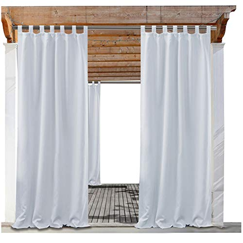 PONY DANCE Front Porch Curtain - Outdoor Panels Mildew Resistant Blackout Draperies Curtains Light Block Privacy Protect, 52 Wide by 95 in Long, Greyish White, 1 Piece by PONY DANCE
