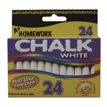 A+Homework Chalk - White - 3 in. sticks - 24 per box. - Case of 48 by A+Homework