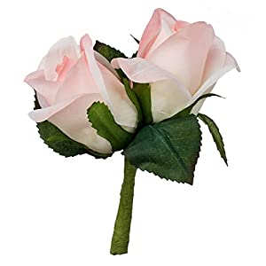 TheBridesBouquet.com Pink Silk Rose Double Boutonniere – Groom Boutonniere Prom