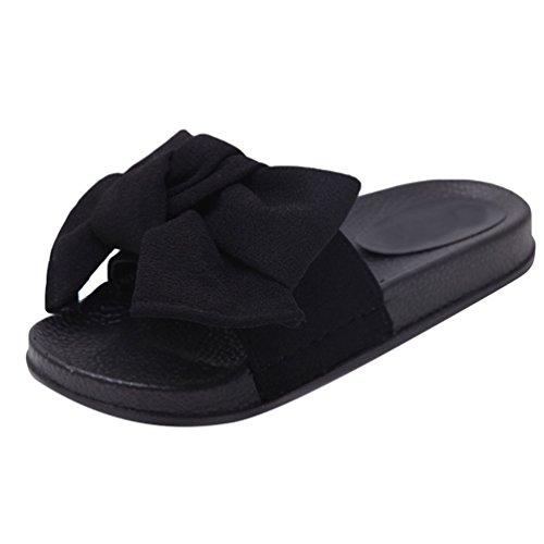 pour Pantoufles Plat Noir Chaussons Chaussures 2 Femmes Plage Open Anguang d'été Toe UEwZqw16