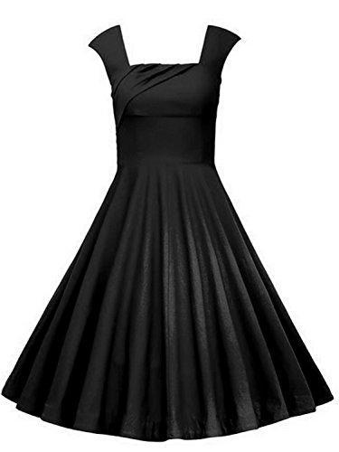 50s 60s Vintage Retro Swing Rockabilly Picnic Party Full Circle Dress(Black,3XL) (50s Dress Up Ideas)
