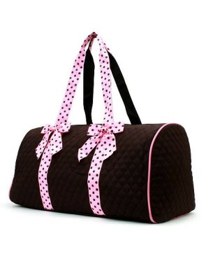 Larlar Oliff Large Quilted Solid 21 Duffle BagBrown Pink