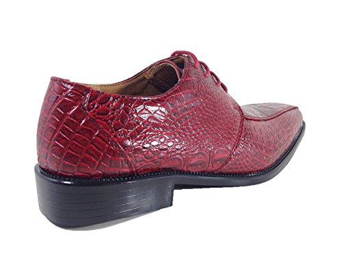 Men's Print Burgundy Gator3N Enzo Shoes Lace Oxfords Crocodile Dress Up Alligator Romeo Fashion wOCEpxUHn