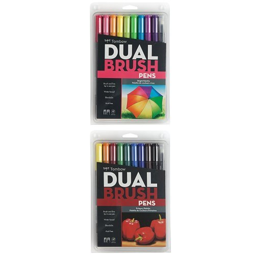 Tombow Dual Brush Pen Art Markers, Bright, 10-Pack Plus Dual Brush Pen Art Markers, Primary, 10-Pack