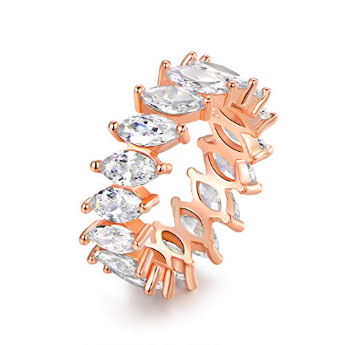 - Barzel 18K White Gold/Rose Gold Plated Cubic Zirconia Eternity Marquise Cut Band Ring (Rose Gold, 7)
