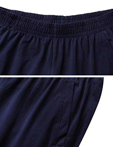 maniche shirt T e donna 2 notte in blu Aibrou Pigiama cotone da pezzi e Set con blu pantaloni scuro vx14wq