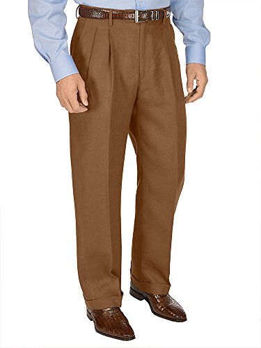 Paul Fredrick Men's Linen Pleated Pant Slate Brown -
