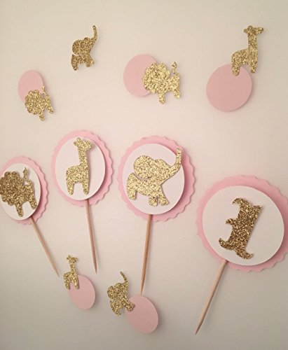 Safari Theme Baby Shower Cupcake Toppers Set, Birthday Topper, Baby Custom Topper, Jungle Animal Baby, Pink and Gold Party, Jungle Baby Shower Decorations, Safari animal decor, Safari Baby (Pink Safari Baby Shower Cake)