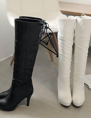 Casual Zapatos Cn41 Uk8 Eu42 us9 Punta De Uk7 Mujer Eu40 Cn43 us10 White Black 5 Botas Vestido Stiletto Cn Redonda La Semicuero Negro Tacón A Xzz 5 Blanco Moda 7Hdwf7
