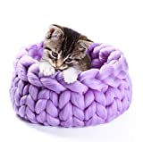Egg Crate Foam Cot Size Barlingrock Pet Dog Cat Bed, Self Warming Nest-Shape Puppy Bed for Small Dog Cats, Big Soft Coarse Knitted Wool Pet Dog Cat Warm Bed House Plush Cozy Mat Pad