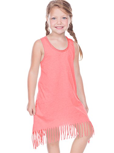 (Kavio! Girls 3-6X Sheer Jersey Raw Edge Fringe Asymmetrical Tank Dress Flamingo 6X)