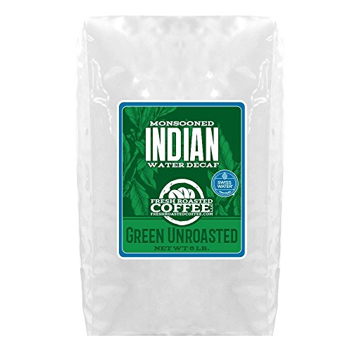 Green Unroasted Coffee, 5 Lb. Bag, Fresh Roasted Coffee LLC. (Indian Monsoon Water Decaf)