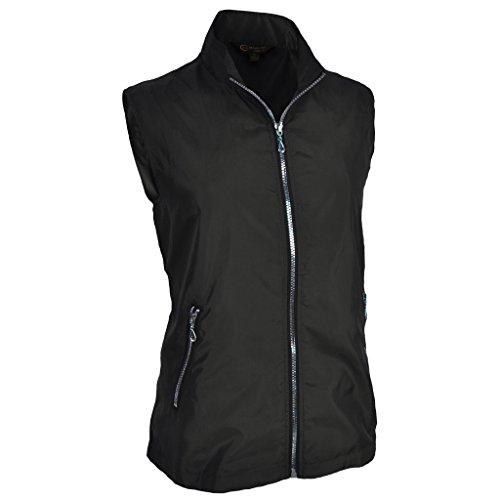 Monterey Club Ladies Lightweight Mini Plaid Zip-up Vest #2791 (Black, Medium)