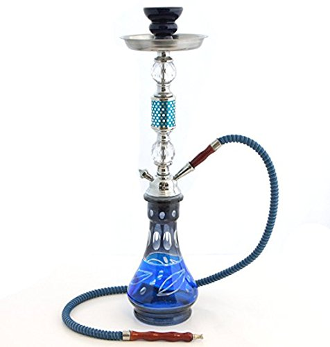 GSTAR Convertible Series: 18'' 1 or 2 Hose Hookah Complete Set - Modern Art Glass Vase - (Soothing Blue)