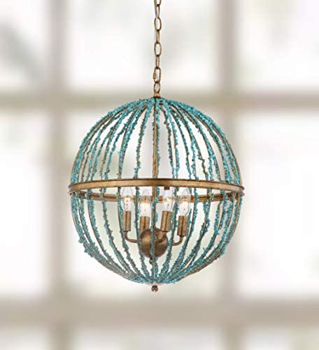 Safavieh CHA4008A Lighting Collection Lalita Cage Blue Chandelier