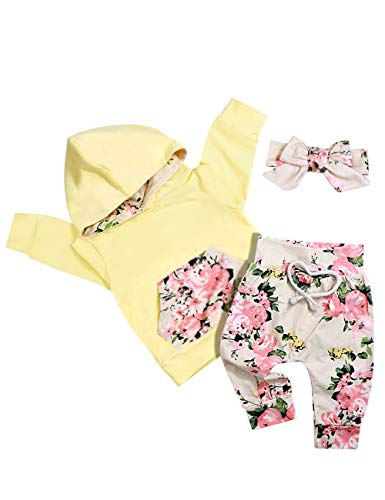 Baby Girl Clothes Long Sleeve Hoodie Sweatshirt Floral Pants with Headband Outfit Sets 12-18 Months