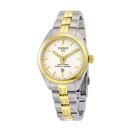 Tissot PR 100 Quartz COSC Lady White Dial Two-tone Ladies Watch T1012512203100 (Ladies Two Tone White Dial)