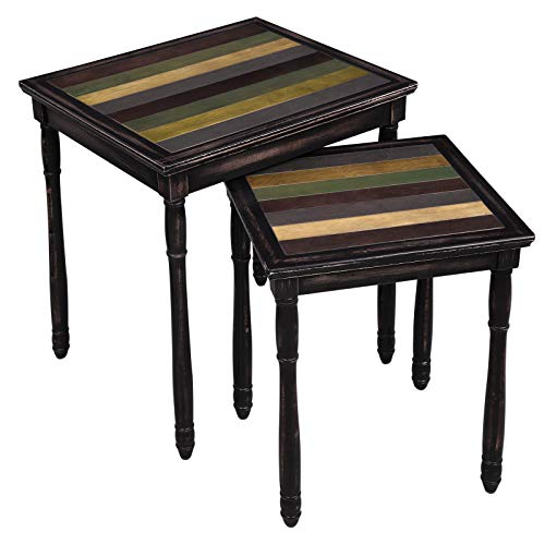VASAGLE Nesting End Tables with Colorful Storage Tabletop, Pair of 2 Coffee Tables with Solid Wood Legs, Assembly Without Tools, Side Table for Living Room, Country Brown ULNT01GL