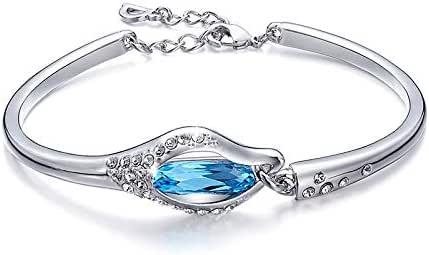 Swarovski Elements Crystals Leaf White Gold Plated Bangle Bracelet for Women Girls