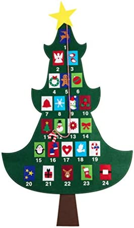 [해외]Amosfun Felt Christmas Tree Fabric Advent CalendarPockets Christmas Hanging Countdown Calendar for Kids / Amosfun Felt Christmas Tree Fabric Advent CalendarPockets Christmas Hanging Countdown Calendar for Kids