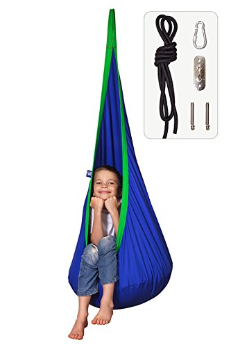 Amazeyou Kids Swing Hammock Pod Chair - Child's Rope Hanging Sensory Seat Nest for Indoor and Outdoor Use - Great for Children , All Accessories Included (Nook Blue)