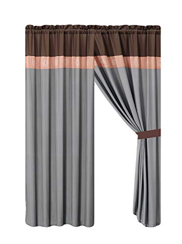 HGS 4-Pc Colette Floral Scroll Embroidery Curtain Set Peach Pink Gray Brown Drape Sheer Liner