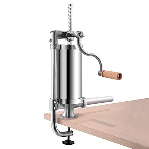CHEFJOY T Vertical Sausage Stuffer Maker Stainless Steel Home Commercial Cylinder Filler w/ 4 Tubes Meat Grinder 1.5L, Silver ()