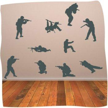 soldados de ej?rcito pared adhesivo multi pack de arte de la pared - ej?rcito arte de la pared - 30 cm de altura * Auto W