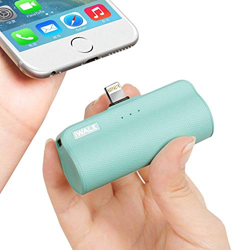 Fuel Rod - iWALK Mini Portable Charger with Built in Plug, 3300mAh Ultra-Compact Power Bank External Battery Pack Charger Compatible with iPhone Xs Max/Xs/XR/X/8/7/6/5, iPad, (Green)
