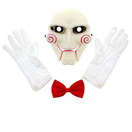 Zac's Alter Ego 3 Piece Halloween Scary Jigsaw Set - Mask, Red Bow Tie & Gloves]()