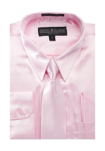 Pink Satin Dress Set - Boy's Satin Dress Shirt with Matching Tie and Hanky Set - Pink 7