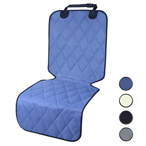 Front Cover Seat Blue (Vivaglory Dog Front Seat Covers with No-Skirt Design, Quilted & Durable 600 Denier Oxford Pet Bucket Protectors with Anti-Slip Backing for Most Cars, SUVs & MPVs, Moonlight Blue)