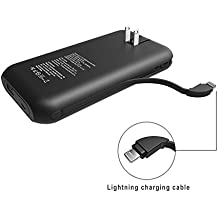 Heloideo 15000mAh iPhone Lightning Cable Power Bank with AC Plug, Fast Charging Portable charger with Built-in Lighting Cable for iPhone X, iPhone 8, iPhone 7, iPad Pro(Lightning cable-Matt black)