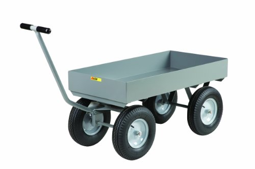 Little Giant CH-2448-X6-16P Steel Heavy-Duty Wagon Truck with 6″ Deep Lip Edge Deck, 3000 lbs Capacity, 48″ Length x 24″ Width