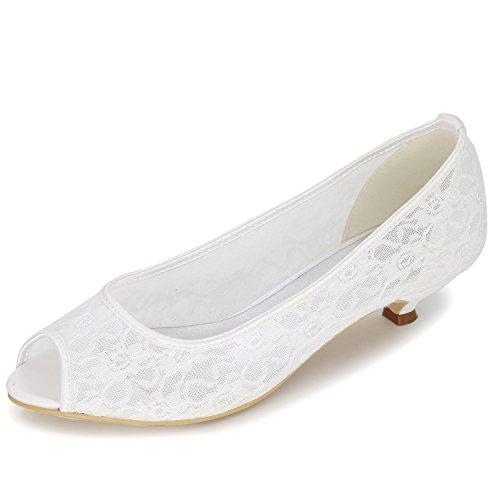 De del Cerrado Satinado Elobaby Party Pie Talones 3 White 5Heel Party Bajo TamañO Dedo Flat Boda Mujeres Las De Zapatos OtCwqf
