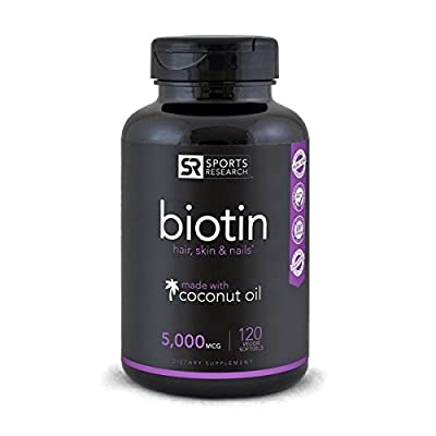 High Potency Biotin for Hair, Skin & Nails - 5,000 MCG by Sports Research - 120 Mini Veggie Softgels