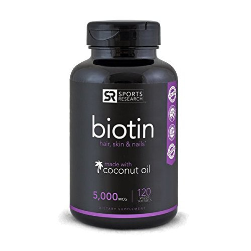Biotin (High Potency) 5000mcg Per Veggie Softgel; Enhanced with Coconut Oil for better absorption; Supports Hair Growth, Glowing Skin and Strong Nails; 120 Mini-Veggie Softgels; Made In USA. 413k6lMlxvL