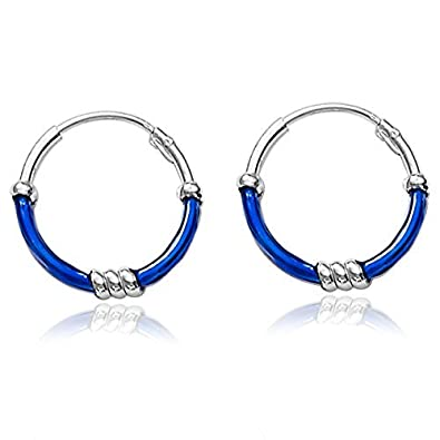 5c8165e83 Buy Taraash Navy Blue Enamel 925 Sterling Silver Hoop Earring For Women  HP0982S Online at Low Prices in India | Amazon Jewellery Store - Amazon.in
