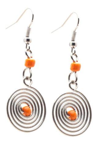 Maisha Fair Trade Wire Swirl with Center Glass Bead Drop Earrings, (Swirl Glass Bead Earrings)